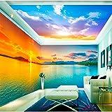 Yirenfeng Adesivi Murali Autoadesivi Per Carta Da Parati Bellissimo Tramonto Lago Tema Spazio Sfondo Muro Video Rivestimento Murale-450X300CM