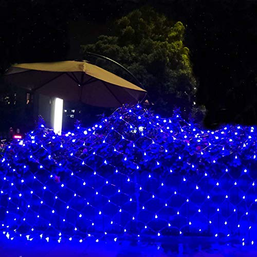 Solar-Lichterkette für den Außenbereich, Netzstoff, Solar-Vorhang-Lichter, Garten-Lichterkette, solarbetrieben, 200 LEDs, Terrassenbeleuchtung, Blau mit 8 Leuchtmodi, automatisches An/Aus, 3 m x 2 m
