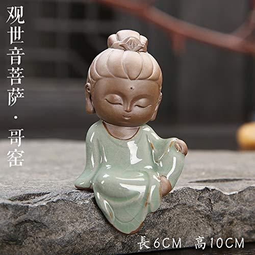 ZXZMONG Skulpturen,Statue,Deko,Handgemachte Nette Lila Ton Kleiner Mönch Tee Haustier Ornamente Boutique Tee Berühmten Tee Haustier Spielen Zubehör 1 Stücke, E6 * 10 cm
