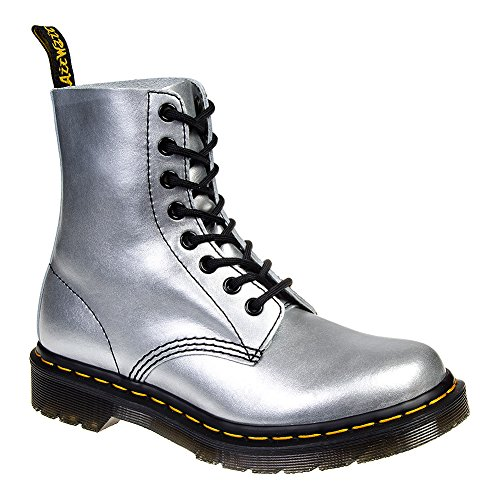 Dr Martens Pascal 1460 Silver Black Leather Womens Boots -36