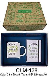 RM- Conjunto libreta y Taza mug con Mensaje,Todo se alcanza Sets de Material Escolar (1)