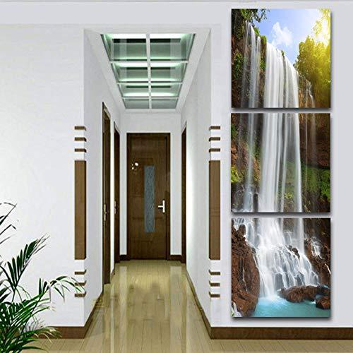Fluss Kostüm - woplmh 3 Panel Moderne Druck leinwand Hohe Berge und flüsse Wasserfall Kostüme für zu Hause -60X60cmx3pcs Kein Rahmen