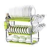 OldPAPA Abtropfgestell in Edelstahl, Geschirrkorb mit Abtropfgitter Geschirrständer mit Besteckkorb und Abtropfschale für Teller, Küche Aufbewahrungs Tool, B