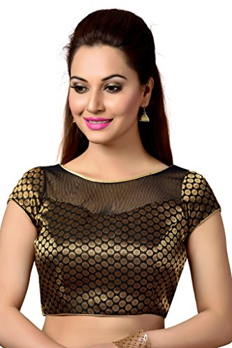 Studio Shringaar Black Brocade Net Yoke Blouse