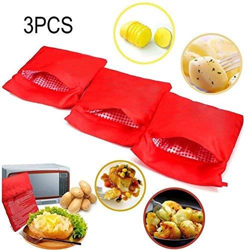 Tofree 3Pcs Mikrowelle Kartoffeln Tasche, Küche Versorgung waschbar und wiederverwendbare Mikrowelle gebackene rote Kartoffel Tasche -