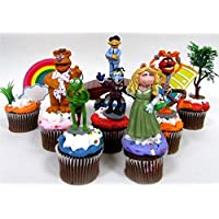 Sesame Street MUPPETS 10 Piece Birthday CUPCAKE Topper Set, Featuring Muppets Figures and Decorative Themed Accessories - Figures Average 2