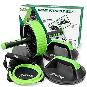 Zizz Heimfitness-Set – Bauchmuskelroller, drehbare Push up Bars (Liegestützgriffe) & Widerstandsband mit Griff – Core, Ab & Stretch Fitness-Set für einen perfekten Sixpack und geformten Körper