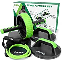 Zizz Fit Ab Roller Wheel, Push Up Bars & Resistance Tube Fitness Equipment Set for Home & Gym - Premium Quality Total Body & Core Workout Kit - FREE Knee Pad & Exercise Guides Included.