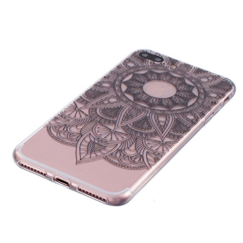 iPhone 7 Plus Coque, Aeeque Fleurs de Dentelle Blanc Dessin Transparent Crystal Silicone Doux TPU Protection Contre les Chutes Case Cover Housse Etui pour iPhone 7 Plus 5.5 pouce Motif #33