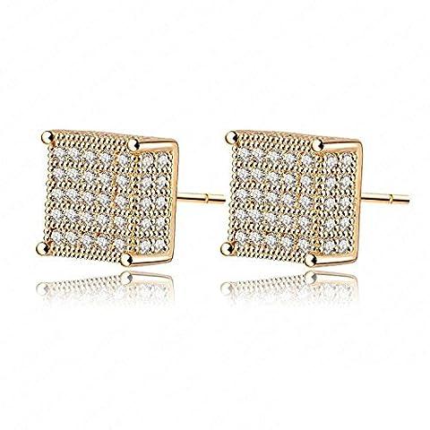 AnaZoz Fashion Jewelry Simple Personality Women Stud Earrings 18K Gold /Platinum Plate Micro Inlay AAA Swiss CZ Wedding Square