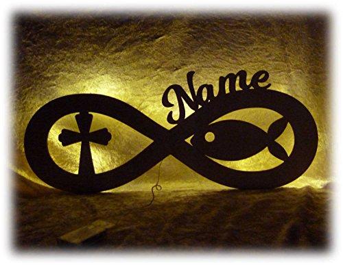 Schlummerlicht24 Led Geschenke zur Kommunion mit Name Zubehör Fisch Kreuz Lampe Kommunionsgeschenke Mädchen Frau Frauen Junge Jungs