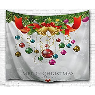 GUEQUITLEX Christmas Decorations Wall Hanging, 3D Xmas Printed Polyester Fabric Holiday Wall Tapestry Art Living Room Bedroom Decor Psychedelic Bohemia Wall Art Tapestry (Style 2, 60L X 50W Inches)