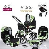 Chilly Kids Matrix II 4 in 1 carrozzina passeggino combinato (seggiolino per auto, base ISOFIX, parapioggia, zanzariera, ruote girevoli, 62 colori) 62 nero & fiori verdi