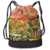 COOABC Autumn Scenery with Sakura Tree Street Drawstring Bag Backpack Bundle Backpack