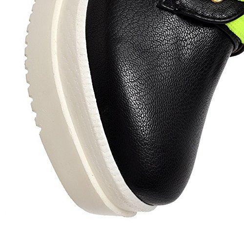 VogueZone009 Damen Weiches Material Quadratisch Zehe Mittler Absatz Rein Pumps Schuhe Schwarz
