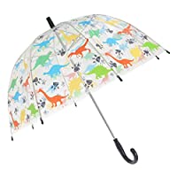 X-Brella Childrens/Kids Transparent Dinosaur Themed Stick Umbrella (Kids) (Multicoloured)