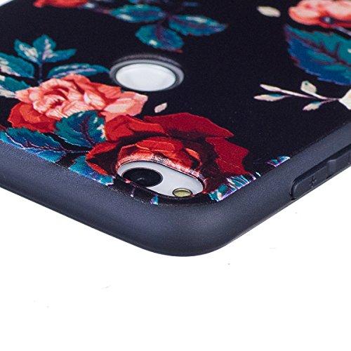 Coque pour Huawei P8 Lite 2017, Étui pour Huawei P8 Lite 2017, ISAKEN Coque Étui Housse Téléphone Étui TPU Silicone Souple Coque Ultra Mince Gel Doux Housse Motif Arrière Case Antichoc Doux Durable Ré fleur rouge