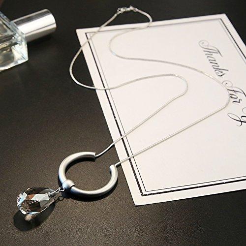 Pullover Kette quaste Kristall Halskette Anhänger Anhänger, Silber Wassertropfen Halskette