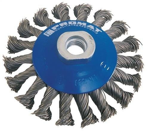 Promat 841149 biseau Brosse D .0,50 mm fil Diamètre, 115 mm M14 PROMAT Max, 12500min/1