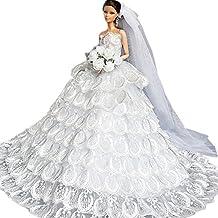 Creation® qualità artigianale Principessa Multi-pizzo Wedding Party abito bianco da sposa con velo per Abbigliamento Barbie natale Gift- bianca