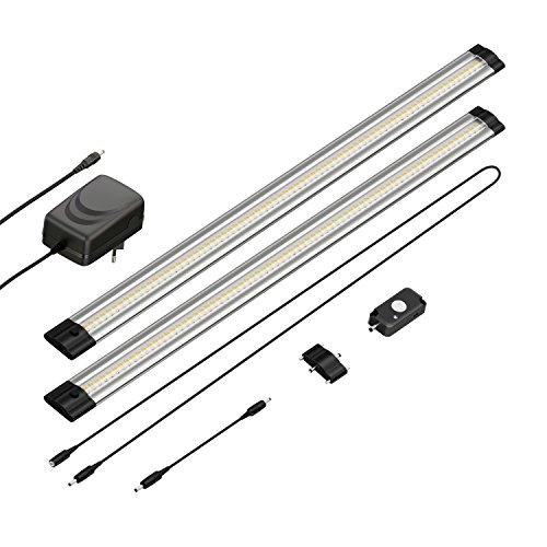 parlat LED Unterbau-Leuchte Siris, Bewegungsmelder, flach, je 50cm, 500lm, warm-weiß, 2er Set
