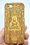 RoseFlower Coque iPhone SE / iPhone 5S / iPhone 5 en Bois Véritable - Bouddha indien bois cerise - Fabriqué à la main en Bois / Bambou Naturel Housse / Étui avec Gratuits Film de Protecteur Écran pour votre Smartphone