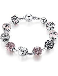 925 pulsera brazalete plateado plata del encanto con los granos Amor Cupido y flores para la boda de las mujeres de cumpleaños