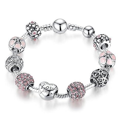 Wostu Charm Bracelet avec Amor Cupidon Amour et cubique cadeau d