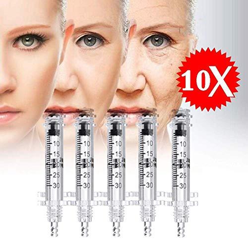 QIYE 10 Stück Spritze Ampulle Kopf,Professionelle Noninvasive Hyaluronsäure Stift, zum Verjüngung Feuchtigkeitsspendend Bleaching