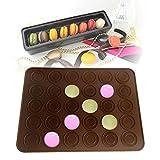 Macarons Backmatte Silikon mit Antihaft-Beschichtung für 30 / 48 Makronen, Cookies, Muffins, Cupcakes oder Kekse 38x28 cm in Braun von wortek