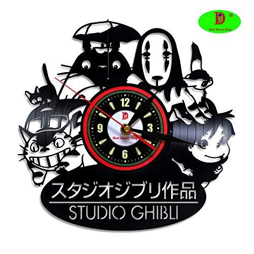 Studio Ghibli Anime Kreativ Vinyle Schwarz Wanduhr Dekoration für Zuhause Art Personalisierbar - Unique Gift für Männer Braut Kinder Mädchen Weihnachten und Halloween