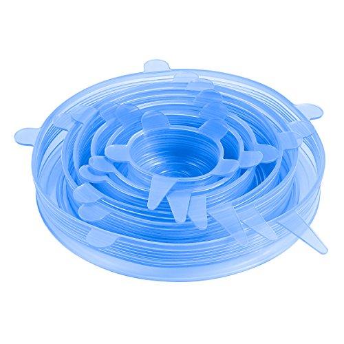 Oria Dehnbare Silikondeckel, 6-teilig BPA-frei strapazierfähig in verschiedenen Größen Silikon...