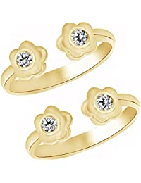 Jewels Exotic Twin Flower Style Fashion Toe Rings In 0.02 CT White CZ 925 Silver 10K Yellow Gold Fn
