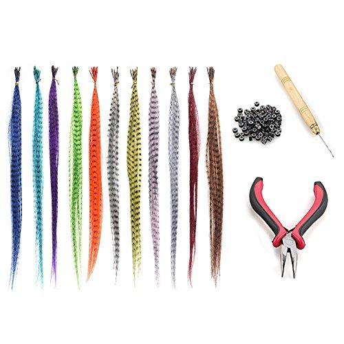 Vococal® 55 Stk Synthetische Gerade Multi-color Federn Haarteile + Zange + Nadel ziehen Haken Loop Werkzeug + 100PCS Micro Link Perlen Haarverlängerungen Satz