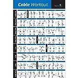 Laminiertes Kabel-Übungsposter, 50,8 x 76,2 cm, zum Aufhängen in Zuhause oder im Fitnessstudio, illustrierte Trainingstabelle mit 40 Kabelmaschinen-Übungen, für alle Fitnessstufen, Männer und Frauen