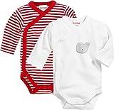 Schnizler Unisex Baby Wickel-Body, Langarm, 2er Pack Wal, Oeko-Tex Standard 100 Rot (Rot/Weiß 44), 56