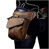 Le'aokuu Mens Genuine Leather Cycling Waist Hip Bum Pack Utility Drop Leg Cross Over Bag (Light Brown 3)