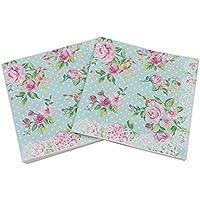 Gysa Servilletas 2 paquetes (20 hojas/paquete) Serie rosa patrón Servilletas papel Pulpa de madera nativa Servilletas decoupage Suave y confortable Servilletas papel flores