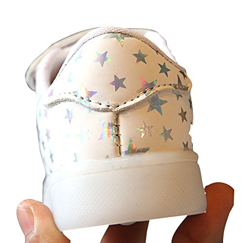 hibote Kleinkind Jungen Mädchen Aufleuchten Schuhe LED Turnschuh Weiß