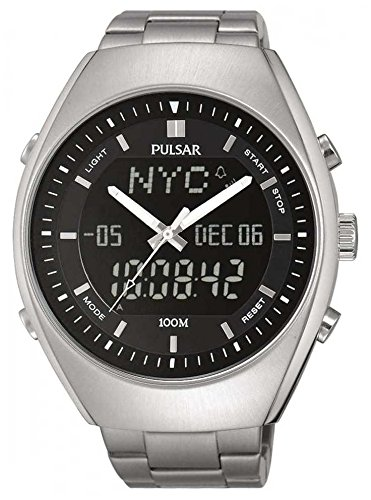 PULSAR-Gents Duo Display Worl Time Stainless Steel Bracelet Watch