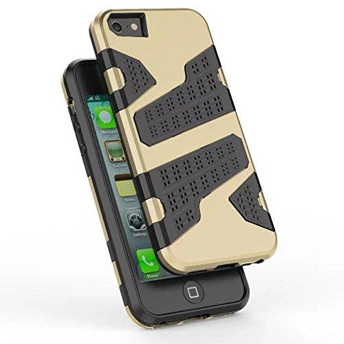 iPhone 5 5S Hülle,iPhone SE Hülle,Lantier Rüstung mit Luftloch Design Shockproof leichten doppelten Layer Hybrid Defender SchutzHülle für iPhone 5/5S/SE Grün Gold