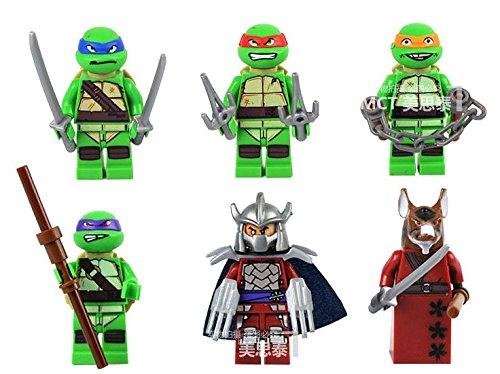 Image of 6 x Teenage Mutant Ninja Turtles Minifigure Set - Lego Fit