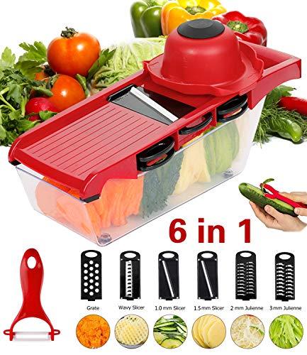 Roseate Gemüseschneider Gemüsehobel Vegetable Cutter Mandoline Slicer Küche Slicer Multi Funktions Küchenmesser mit 6 in 1 Edelstahl Blade für Kartoffel, Tomate, Zwiebel, Käse