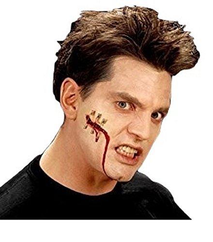 Momo&Ayat Fashions Damen Herren Halloween Klaue Hörner Sfx Kit Handschuhe Lack Maske Kap Makeup Latex Blut Perücke Zubehör (Sfx Fixierte Gashes)