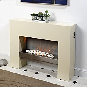 Free Standing Electric Fire MDF Creme Surround Fireplace Flicker Living Flame