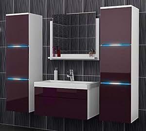 White/Purple Glossy LED Bathroom Furniture Set 5 Pieces