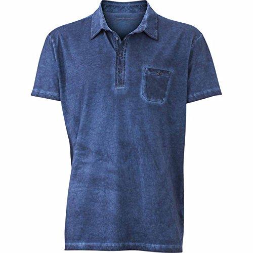 JAMES & NICHOLSON Herren Poloshirt, Einfarbig bleu denim