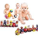 12 Piece Toy Wooden Animal Train Cars Set Building Blocks Childrens Fun Puppet