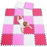 meiqicool Puzzle Tapis Mousse bébé,Tapis de Jeu 18 pcs Puzzle Tapis Mousse Bébé Puzzle Enfants Tapis Blanc Rose Rouge 010309