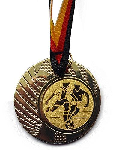 20 Stück - Medaillen - Fußball - Medaillen aus Stahl 40mm - inkl. Medaillen-Band - Emblem 25mm - Gold -